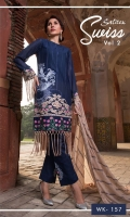 *Shirt : Swiss Voile - Full Embroidered Front.  *Dupatta : Chiffon - Full Embroidered.  *Trouser : Cambric with Embroidered Bunch/Belts