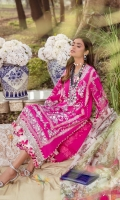Front Embroidered On Slub lawn 1.25 mtr Back Paste Printed on Slub Lawn 1.25 mtr Sleeves Embroidered on Slub Lawn 0.65 mtr Daaman Embroidered Border on Organza 1 mtr Digital Printed Woven Net Dupatta 2.5 mtr Rotary Printed Cotton Pants 2.5 mtr