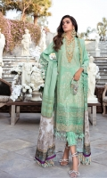 Embroidered Center Panel on Lawn 1 pc Embroidered Side Panels on Lawn 2 pcs Embroidered Daman Border on Organza 1 mtr Paste Printed Rotary Sleeves on Lawn 0.65 mtr Paste Printed Back on Lawn 1.25 mtr Dyed Tussar Silk Dupatta 2.5 mtr Digital Printed Satin Pallus 2 pcs Paste Printed Rotary Pants 2.5 mtr