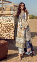 Gold Printed Front On Lawn 1.15 meters Gold Printed Back On Lawn 1.15 meters Gold Printed Sleeves On Lawn 0.65 meter Jacquard Weave Net Dupatta 2.5 meters Embroidered Neck On Organza Printed Borders For Dupatta Pallos On Lawn 1 meter Dyed Cotton Pants 2.5 meters