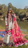 Digitally Printed Shirt Front On Lawn 1.15 meters Digitally Printed Shirt Back On Lawn 1.15 meters Digitally Printed Sleeves On Lawn 0.65 meter Printed Dupatta On Silver Chiffon 2.5 meters Embroidered Neck On Organza