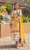 Digitally Printed Front On Lawn 1.15 meters Digitally Printed Back On Lawn 1.15 meters Digitally Printed Sleeves On Lawn 0.65 meter Printed Dupata On Silver Chiffon 2.5 meters Embroidered Neck On Organza