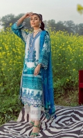 Printed Shirt Front On Lawn 1.15 meters Printed Shirt Back On Lawn 1.15 meters Printed Sleeves On Lawn 0.65 meter Embroidered Neck On Organza Embroidered Border On Organza Printed Dupatta On Chiffon 2.5 meters Printed Border On Lawn 1 meter Dyed Cotton Pants 2.5 meters