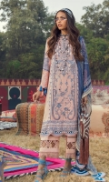Printed Shirt Front On Lawn 1.15 meters Printed Shirt Back On Lawn 1.15 meters Printed Sleeves On Lawn 0.65 meter Embroidered Panel On Dyed Lawn Printed Dupatta On Chiffon 2.5 meters Dyed Cotton Pants 2.5 meters