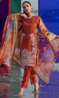 Shirt : Printed lawn with embroidered front. Dupatta : Printed Chiffon Dupatta. Trouser : Printed Cambric Trouser.