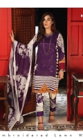Shirt : Printed Lawn Shirt with Embroidered Front.  Dupatta : Printed Chiffon Dupatta Trouser : Printed Cambric Trouser.