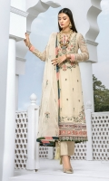 Embroidered Chiffon Shirt Front – 0.75 yard Embroidered Chiffon Shirt Back – 1.25 yards Embroidered Pink Front and Back Daman Patti – 1.75 yards Embroidered Green Front and Back Daman Patti – 1.75 yards Embroidered Blue Front and Back Daman Patti – 1.75 yards Embroidered Daman Patch – 2 Pieces Embroidered Chiffon Sleeves – 0.75 yard Embroidered Sleeve Motif – 2 pieces Embroidered Sleeve Blue Patti – 1 yard Embroidered Organza Dupatta – 2.75 yards Katan Silk Chatta Patti Dupatta – 1.5 yards