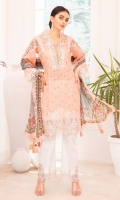 Embroidered Lawn Shirt Front 0.75 yard  Embroidered Lawn Shirt Back 1 yard  Embroidered Shirt Border 0.72 yar  Embroidered Lawn Sleeves 0.75 yard  Embroidered Sleeves and Neckline Border 1.5 yards  Embroidered Shoulder Border 1.5 yards  Embroidered Sleeves Path 2 Pieces  Dyed Cotton Cambric Trouser 2.5 yards  Digital Printed Chiffon Dupatta 2.75 yards  Embroidered Trouser Patch 2 Pieces