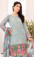 Embroidered Lawn Shirt Front 0.72 yard Embroidered Lawn Shirt Back 0.72 yard Embroidered Shirt Front Border 0.75 yard Embroidered Shirt Back Border 0.75 yard Embroidered Lawn Sleeves 0.75 yard Embroidered Neck Line Border 1 yard Dyed Cotton Cambric Trouser 2.5 yards Embroidered Chiffon Dupatta 2.5 yards Embroidered Dupatta Lawn Border 2.5 yards Embroidered Dupatta Tissue Border 2.5 yards
