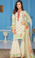 Embroidered and Printed Front Printed Back and Sleeves Printed Chiffon Dupatta Plain Dyed Trouser