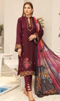 2.5 meters Embroidered Dhanak Jacquard Fabric shirt,  0.5 meter Dhanak Jacquard Fabric sleeves,  2.5 meters Plain Dhanak Fabric trouser,  2.5 meters Digitally Printed Wool Shawl