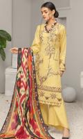 2.5 meters Dhanak Jacquard Fabric Shirt,  0.5 meter Dhanak Jacquard Fabric Sleeves,  2.5 meters Plain Dhanak Fabric Trouser,  2.5 meters Digitally Printed Wool Shawl