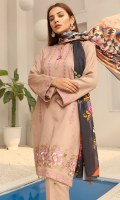 Description: 2.5 meters Embroidered Dhanak Jacquard Fabric shirt,  0.5 meter Dhanak Jacquard Fabric sleeves,  2.5 meters Plain Dhanak Fabric trouser,  2.5 meters Digitally Printed Wool Shawl