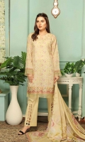 Chikankari All Over Embroidered Shirt Front and Back Voile Dupatta Dyed Trouser