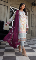 Neckline: Embroidered 1 Pc Shirt Front: Printed Lawn Shirt Back & Sleeves: Printed Lawn Daman Lace 1: Embroidered Organza Daman Lace 2: Embroidered Organza Sleeves Border Lace: Lace for Sleeves Border Dupatta: Embroidered Chiffon Dupatta Trouser: Solid Dyed Cotton