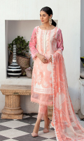 Shirt Front: Printed Lawn Shirt Back: Printed Lawn Sleeves: Embroidered Sleeves Sleeves Border Lace: Lace for Sleeves Border Shirt Front Lace 1: Lace for Shirt Front Border Shirt Front Lace 2: Lace for Shirt Front Border Dupatta: Printed Chiffon Trouser: Dyed Cotton
