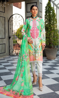 Neckline: Embroidered 1 Pc Shirt Front: Printed Lawn Shirt Front Border Lace: Lace For Shirt Front Shirt Back: Printed Lawn Sleeves: Printed Lawn Dupatta: Printed Chiffon Trouser: Dyed Cotton