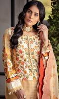 Shirt Front Half: Printed Lawn Shirt Front Half: Embroidered Lawn Shirt Front Border: Lace for Shirt Front Border Shirt Back: Printed Lawn Sleeves: Printed Lawn Sleeves Border Lace: Lace for Sleeves Border Dupatta: Embroidered Chiffon Trouser: Dyed Cotton