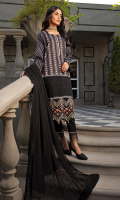 Shirt Front: Printed Lawn Shirt Front Border: Embroidered Organza Shirt Back: Printed Lawn Sleeves: Printed Lawn Sleeves Border Lace: Embroidered Lace for Sleeves Border Dupatta: Embroidered Chiffon Trouser: Dyed Cotton