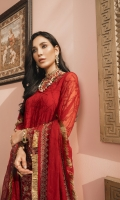 Embroidered Chiffon Shirt Front Embroidered Chiffon Shirt Back Embroidered Chiffon Sleeves Embroidered and Embellished Neckline 1 pc Embroidered and Embellished Front and Back Border Embroidered Chiffon Dupatta Dyed Raw Silk Trouser Gota Lace for Shirt Front Border