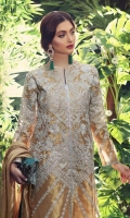 *FRONT EMBROIDERY ON ANTIQUE GOLD TISSUE             1.15M  *BACK FABRIC ANTIQUE GOLD TISSUE                                    1.15M  *SLEEVES EMBROIDERY ON ANTIQUE GOLD TISSUE           .70M  *JAMAWAR PANT                                                                           2.5M  *PURE SILK CHIFFON TISSUE SHAWL                                        2.3M  *WHITE PAK PURE SILK SLIP                                                         2.3M  *FRONT & BACK DAMAN EMBROIDERY                                  60in