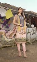 Digital Printed Masoori Lawn Shirt with Embroidered Neck Digital Printed Masoori Lawn Sleeves Digital Printed Chiffon Dupatta (2.5 mtr) Dyed Trouser (2.5mtr)