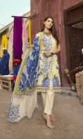 Digital Printed Lawn Shirt with Embroidered Front Digital Printed Sleeves Digital printed Chiffon Dupatta (2.5mtr) Dyed Trouser (2.5mtr)
