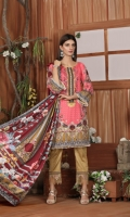Digital Printed Khadar Shirt with Daman Embroidered (3mtr) Digital Printed Sleeves Digital printed Viscose Jacquard Shawl (2.5 mtr) Embroidered Lace Dyed Trouser (2.5mtr)