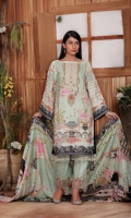 Digital Printed Krandi Shirt with Embroidered Nick (3mtr) Digital Printed Sleeves Digital printed Krandi Dupatta (2.5 mtr) Embroidered Lace Dyed Trouser (2.5mtr)