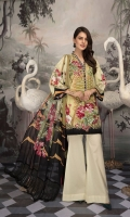 Digital Printed Lawn Shirt With Embroidered Front Daman Patch Digital Printed Sleeves Digital Printed Chiffon Dupatta Dyed Trouser