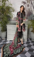 Digital Printed Lawn Shirt with Embroidered Front Digital Printed Sleeves Digital printed Chiffon Dupatta Dyed Trouser Embroidered Lace