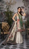 Digital Printed Lawn Shirt with Embroidered Neck Digital Printed Sleeves Digital printed Chiffon Dupatta Dyed Trouser