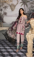 Digital Printed Lawn Shirt with Embroidered Front Digital Printed Sleeves Digital printed Chiffon Dupatta Dyed Trouser Embroidered Motifs