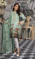 Digital Printed Lawn Shirt Digital Printed Sleeves Sleeves Embroidered Motifs Embroidered Neck line Embroidered Chiffon Dupatta Dyed Trouser