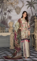 Digital Printed Lawn Shirt With Embroidered Front Digital Printed Sleeves Digital Printed Chiffon Dupatta Embroidered Lace Dyed Trouser