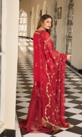 Chiffon Embroidered Front Chiffon Embroidered Back Chiffon Embroidered Sleeves Organza Embroidered Front & back Daman Patch Trouser Embroidered Lace Embroidered Chiffon Dupatta (2.5 mtr) Dyed Trouser (2.5 mtr)