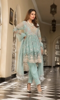 Chiffon Embroidered Front Chiffon Embroidered Back Chiffon Embroidered Sleeves Organza Embroidered Front & back Daman Patch Organza Embroidered Nick Embroidered Chiffon Dupatta (2.5 mtr) Dyed Trouser (2.5 mtr)