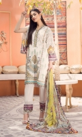 Front Lawn Embroidery Embroidered Neck Patti & Border Digital Printed Back & Sleeves Digital printed Chiffon Dupatta (2.5mtr) Dyed Trouser (2.5mtr) Trouser Printed Patch