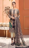 Digital Printed Lawn Shirt with Front Embroidery Embroidered Border Patch Digital Printed Sleeves Digital printed Chiffon Dupatta (2.5mtr) Dyed Trouser (2.5mtr) Trouser Printed Patch
