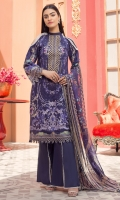 Front Lawn Embroidery Digital Printed Back & Sleeves Digital printed Chiffon Dupatta (2.5mtr) Dyed Trouser (2.5mtr)