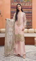 Front Lawn Embroidery Embroidered Border Patch Digital Printed Back & Sleeves Digital printed Chiffon Dupatta (2.5mtr) Dyed Trouser (2.5mtr)