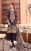 Digital Printed Lawn Shirt with Neck Embroidery Border Schiffi Embroidery Digital Printed Sleeves Digital printed Chiffon Dupatta (2.5mtr) Dyed Trouser (2.5mtr)