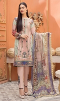 Digital Printed Lawn Shirt with Front Embroidery Digital Printed Sleeves Digital printed Chiffon Dupatta (2.5mtr) Dyed Trouser (2.5mtr) Embroidered Motif