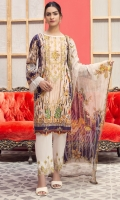 Digital Printed Lawn Shirt with Neck Embroidery Digital Printed Sleeves Digital printed Chiffon Dupatta (2.5mtr) Dyed Trouser (2.5mtr) Embroidered Patch