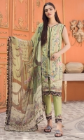 Digital Printed Lawn Shirt with Front Embroidery Digital Printed Sleeves Digital printed Chiffon Dupatta (2.5mtr) Dyed Trouser (2.5mtr) Trouser Printed Patch
