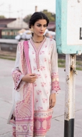 Shirt Yarn Dyed Jacquard Shirt 3m Embroidered Border 3PC Color: Off White and Tea Pink Fabric: Yarn Dyed Jacquard  Trouser Dyed Cotton Trouser 2.5m Color: Off White Fabric: Cotton  Dupatta Yarn Dyed Jacquard Dupatta 2.5m Color: Off White and Tea Pink Fabric: Yarn Dyed Jacquard