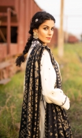 Shirt Dyed Embroidered Fine Lawn Shirt Front 1.15m Dyed Embroidered Fine Lawn Shirt Back & Sleeves 1.85m Embroidered Neckline 1PC Color: Off White Fabric: Fine Lawn  Dupatta Dyed Extra Weft Jacquard Dupatta 2.5m Color: Black and Golden Fabric: Extra Weft Jacquard