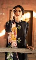 Shirt Dyed Embroidered Slub Lawn Shirt Front 1.15m Dyed Slub Lawn Shirt Back & Sleeves 1.85m Color: Black Fabric: Slub Lawn  Trouser Dyed Cotton Trouser 2.5m Color: Black Fabric: Cotton  Dupatta Printed Broche Jacquard Dupatta 2.5m Color: Multi Fabric: Broche Jacquard