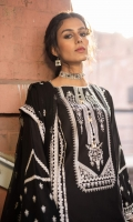 Shirt Dyed Embroidered Fine Lawn Shirt Panels 3PC Dyed Fine Lawn Shirt Back 1.15m Dyed Embroidered Fine Lawn Shirt Sleeves 0.7m Embroidered Patti 1PC Color: Black Fabric: Fine Lawn  Trouser Dyed Cotton Trouser 2.5m Color: Black Fabric: Cotton  Dupatta Dyed Embroidered Bemberg Crinkle Chiffon Dupatta 2.5m Color: Black Fabric: Bemberg Crinkle Chiffon