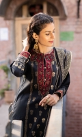 Shirt Dyed Extra Weft Jacquard Shirt 3.55m Embroidered Neckline 1PC Embroidered Border 1PC Color: Black Fabric: Extra Weft Jacquard  Trouser Dyed Cotton Trouser 2.5m Color: Black Fabric: Cotton  Dupatta Dyed Extra Weft Jacquard Dupatta 2.5m Color: Black and Golden Fabric: Extra Weft Jacquard